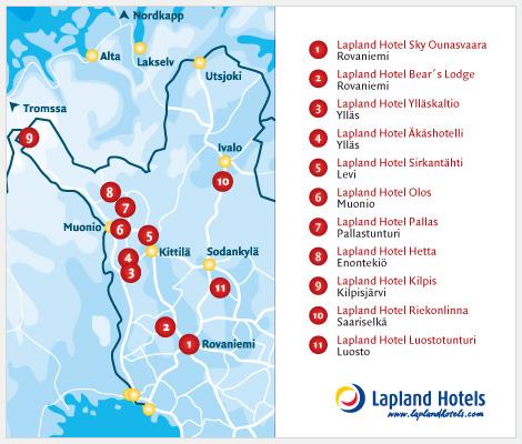 Reittikartta Lapland Hotels